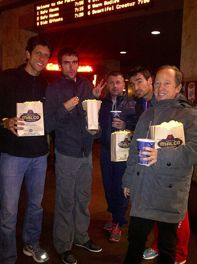 At the movies: Marcelo Melo, Marin Cilic, Stjepan Medak, Ivan Dodig and Bob Brett.