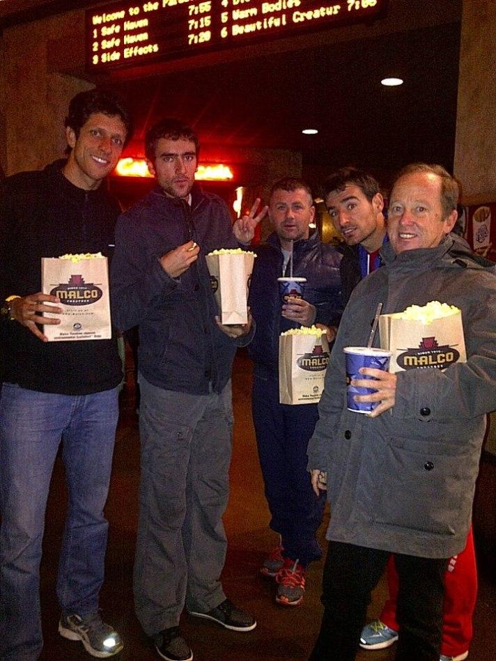 At the movies: Marcelo Melo, Marin Cilic, Stjepan Medak, Ivan Dodig and Bob Brett.