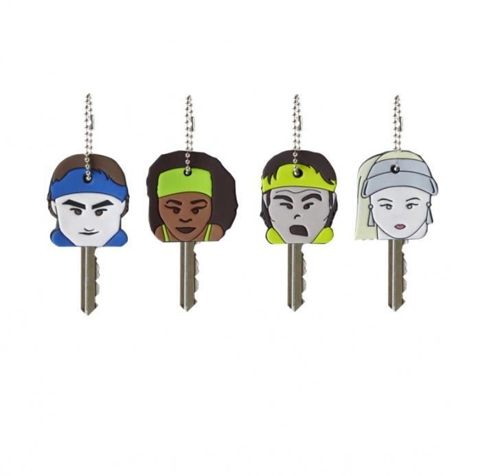 Capas para chave de Roger Federer, Serena Williams, Rafael Nadal e Maria Sharapova. Estão à venda no stand da Tennis4Life.