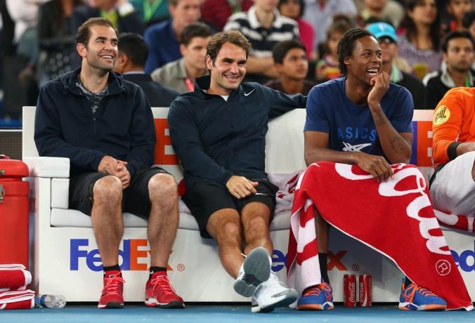 Pete Sampras, Roger Federer e Gael Monfils. (Foto: Clive Brunskill/Getty Images Europe)