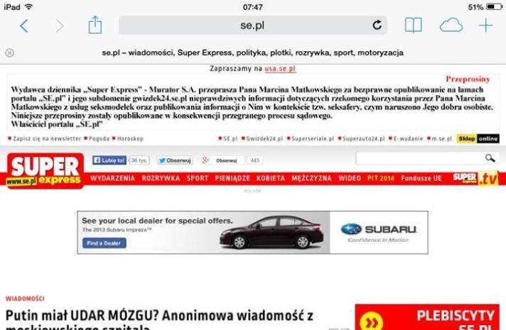Super Express publica pedido de desculpas após perder processo. (Foto: Marcin Matkowski)